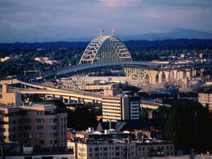 Fremont Bridge in Distance, Portland, Oregon by John Elk III