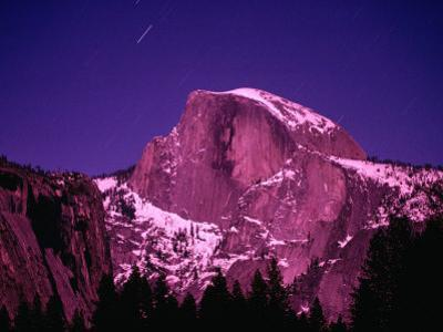 Half Dome with Pink Glow in Moonlight, Yosemite National Park, USA