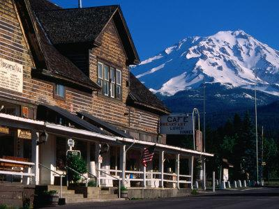 Mccloud Mercantile Hall with Mt. Shasta in Background, Mt. Shasta, California