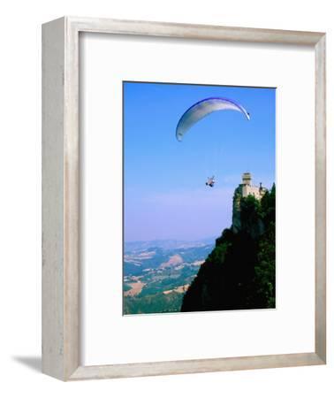 Person Hang-Gliding over Castle with Countryside Beyond, San Marino, San Marino
