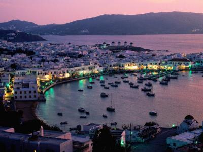 Port View at Sunset, Mykonos Island, Southern Aegean, Greece