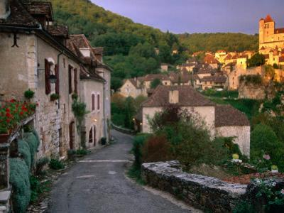 Street Scene, St. Cirq Lapopie, Midi-Pyrenees, France by John Elk III