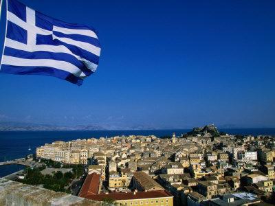 The Island of Corfu from the New Citadel, Corfu Island, Ionian Islands, Greece