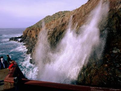 Visitors Watching La Bufadora Sea Spout, Ensenada, Baja California, Mexico