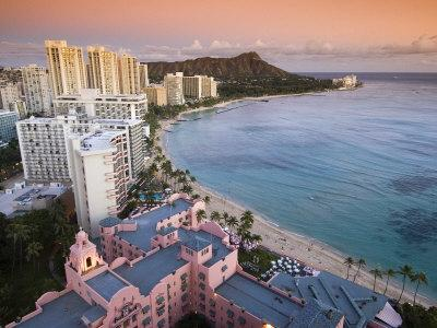 Waikiki Beach with Royal Hawaiian Hotel and Diamond Head at Sunset, Oahu, Hawaii