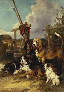 Otter Hounds by a Bridge-Tired Out by John Emms