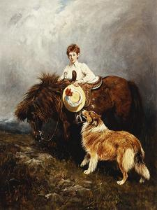 Portrait of Lady Margaret Douglas-Home with a Shetland Pony and a Collie by John Emms