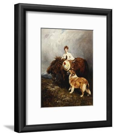 Portrait of Lady Margaret Douglas-Home with a Shetland Pony and a Collie