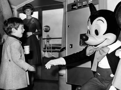 John F Kennedy Jr Shake Hands with Mickey Mouse During Visit to New York World's Fair, Apr 24, 1965--Photo