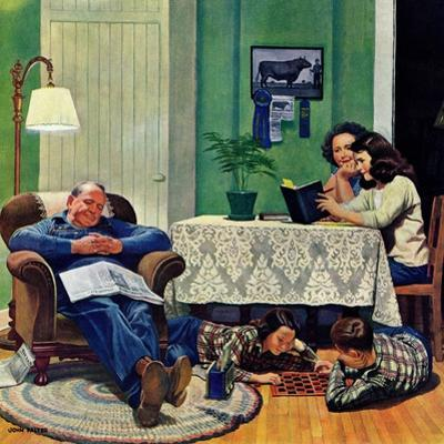 """""""After Dinner at the Farm,"""" March 27, 1948 by John Falter"""