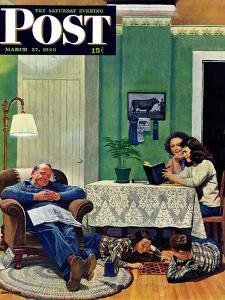 """""""After Dinner at the Farm,"""" Saturday Evening Post Cover, March 27, 1948 by John Falter"""