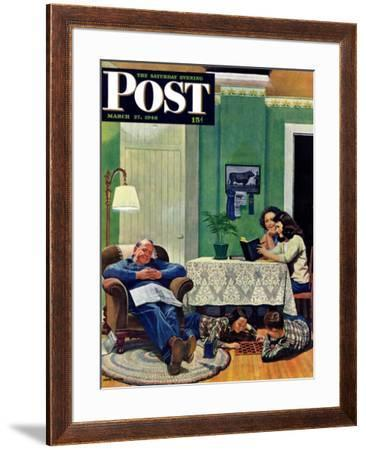 """After Dinner at the Farm,"" Saturday Evening Post Cover, March 27, 1948 by John Falter"