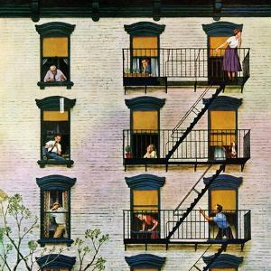 """Apartment Clarinetist"", April 19, 1958 by John Falter"