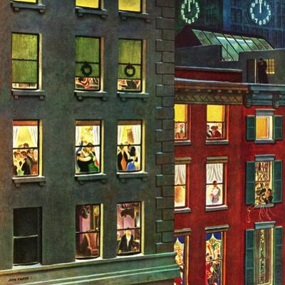 """Apartment Dwellers on New Year's Eve,"" January 3, 1948 by John Falter"