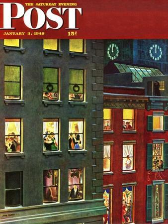 """""""Apartment Dwellers on New Year's Eve,"""" Saturday Evening Post Cover, January 3, 1948 by John Falter"""