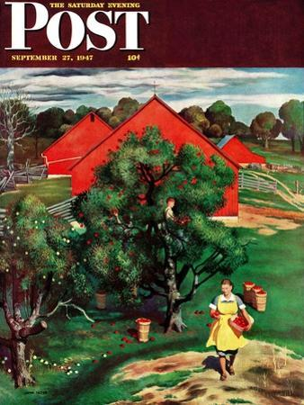 """Apple Picking Time,"" Saturday Evening Post Cover, September 27, 1947 by John Falter"