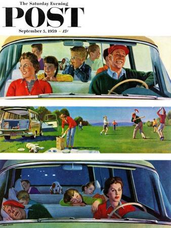 """Before, During & After Picnic"" Saturday Evening Post Cover, September 5, 1959 by John Falter"