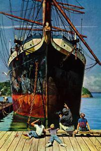 """""""Big Ship at Dock"""", November 5, 1955 by John Falter"""