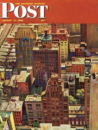 """Bird's-Eye View of New York City,"" Saturday Evening Post Cover, August 17, 1946 by John Falter"