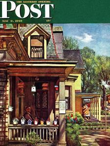 """Birdhouse Builder,"" Saturday Evening Post Cover, May 8, 1948 by John Falter"