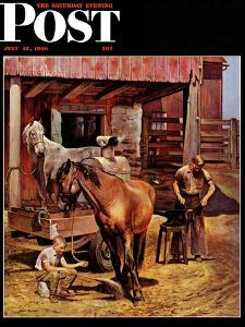 """Blacksmith,"" Saturday Evening Post Cover, July 13, 1946 by John Falter"