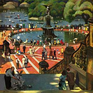 """""""Boating in Central Park"""", July 11, 1953 by John Falter"""