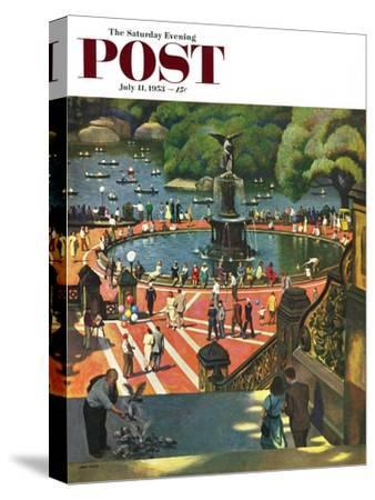 """""""Boating in Central Park"""" Saturday Evening Post Cover, July 11, 1953"""