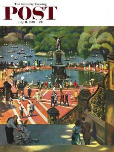 """""""Boating in Central Park"""" Saturday Evening Post Cover, July 11, 1953 by John Falter"""