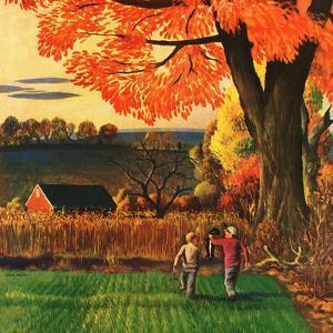 """Bringing Home the Skunk,"" November 15, 1947 by John Falter"