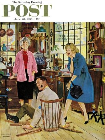 """Broken Antique Chair"" Saturday Evening Post Cover, June 20, 1959 by John Falter"