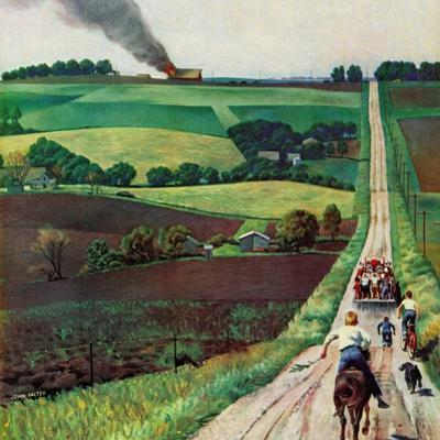 """Chasing the Fire Truck"", June 30, 1956 by John Falter"