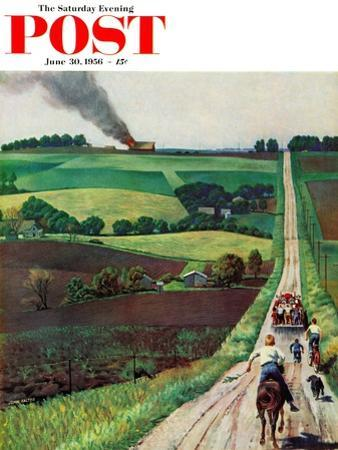 """""""Chasing the Fire Truck"""" Saturday Evening Post Cover, June 30, 1956 by John Falter"""