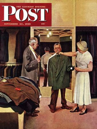 """Choosing a New Suit,"" Saturday Evening Post Cover, November 20, 1948 by John Falter"