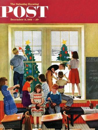 """Classroom Christmas"" Saturday Evening Post Cover, December 8, 1951 by John Falter"