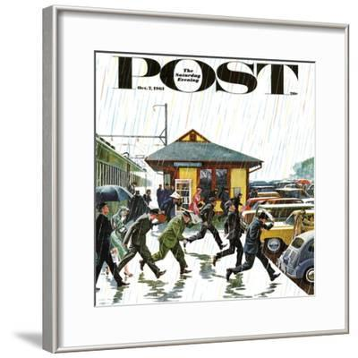"""""""Commuters in the Rain,"""" Saturday Evening Post Cover, October 7, 1961 by John Falter"""