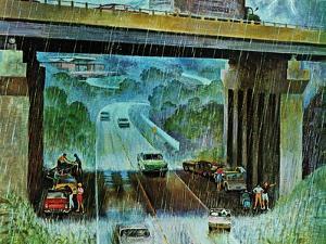 """Convertibles Take Cover in Rain,"" September 15, 1962 by John Falter"