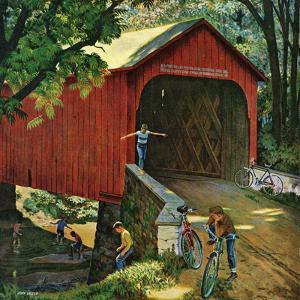 """""""Covered Bridge"""", August 14, 1954 by John Falter"""