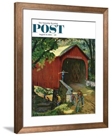 """Covered Bridge"" Saturday Evening Post Cover, August 14, 1954 by John Falter"