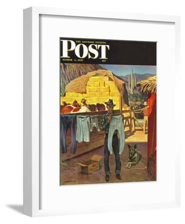 """""""Cowboy Hanging Out His Laundry,"""" Saturday Evening Post Cover, March 1, 1947 by John Falter"""