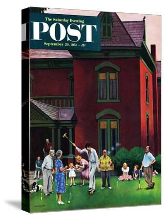 """Croquet Game"" Saturday Evening Post Cover, September 29, 1951"