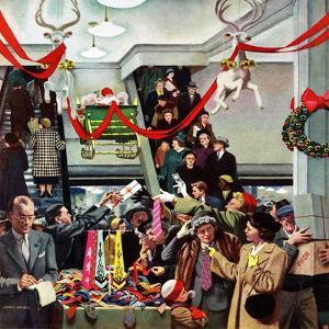 """Department Store at Christmas"", December 6, 1952 by John Falter"