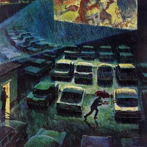 """Drive-In Movie in the Rain,"" May 13, 1961 by John Falter"