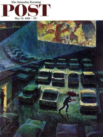 """Drive-In Movie in the Rain,"" Saturday Evening Post Cover, May 13, 1961 by John Falter"