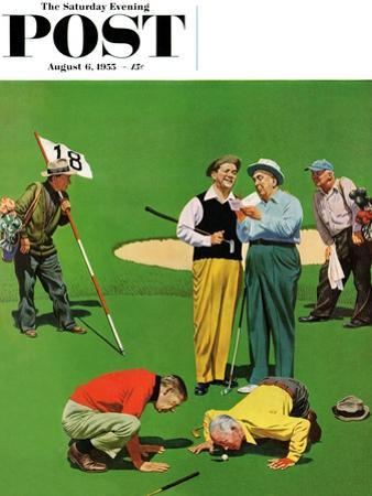 """""""Eighteenth Hole"""" Saturday Evening Post Cover, August 6, 1955 by John Falter"""