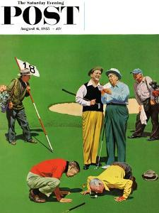 """Eighteenth Hole"" Saturday Evening Post Cover, August 6, 1955 by John Falter"