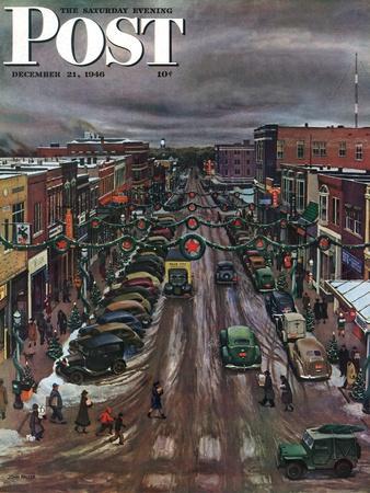 """""""Falls City, Nebraska at Christmas,"""" Saturday Evening Post Cover, December 21, 1946"""