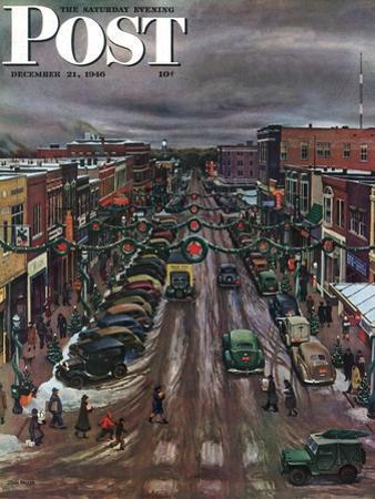 """""""Falls City, Nebraska at Christmas,"""" Saturday Evening Post Cover, December 21, 1946 by John Falter"""