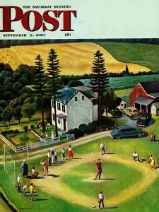 """Family Baseball"" Saturday Evening Post Cover, September 2, 1950 by John Falter"