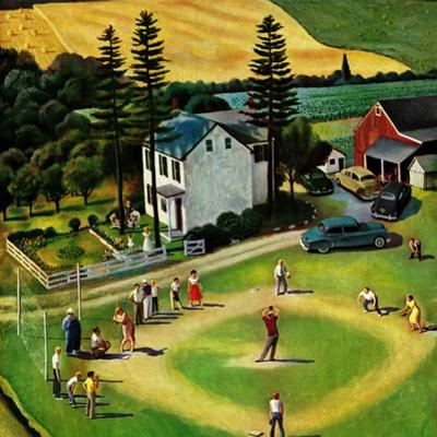 """Family Baseball"", September 2, 1950 by John Falter"