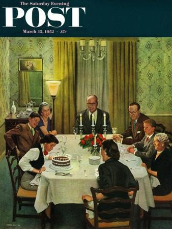 """""""Family Birthday Party"""" Saturday Evening Post Cover, March 15, 1952 by John Falter"""
